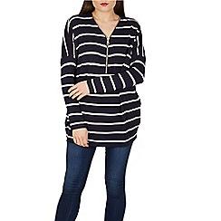 Blue Vanilla - Navy zip neck stripe jumper