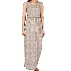 Apricot - Grey feather stripe print maxi dress