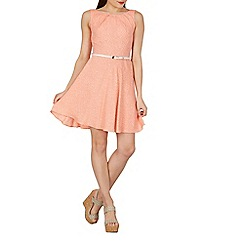Apricot - Dark peach dotty print skater dress