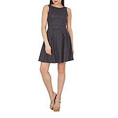 Apricot - Navy polka dot print retro tea dress