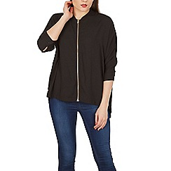 Apricot - Black bomber zip front shirt