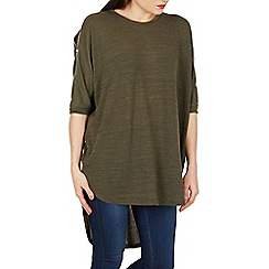 Apricot - Khaki khaki zip cold shoulder top