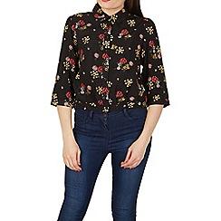 Apricot - Black ditsy bunches print shirt
