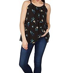 Apricot - Black black floral print vest top