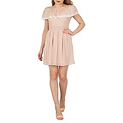Stella Morgan - Natural ruffle bardot dress
