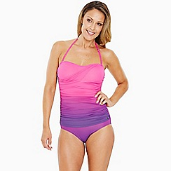 Seaspray - Bright pink ombre draped bandeau swimsuit