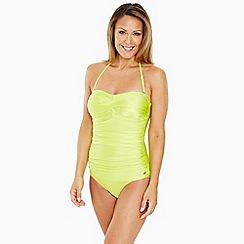 Seaspray - Bright green draped bandeau swimsuit