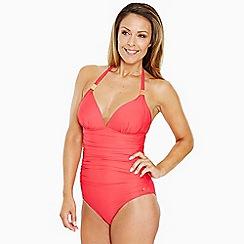 Seaspray - Dark peach plunge halter swimsuit