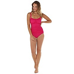 Seaspray - Dark pink ruched strap swimsuit