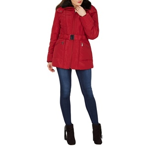David Barry Red fur collar jacket
