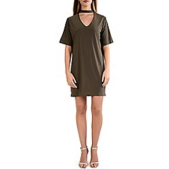 Alice & You - Khaki choker neck dress