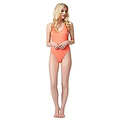 Jane Norman - Peach textured low back swimsuit