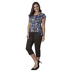 Lavitta - Blue mono floral contrast godet back top