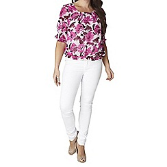 Lavitta - Grape pink floral front neck pleat blouse