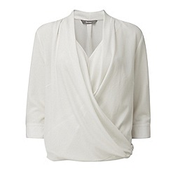 Lavitta - Ivory crepe georgette wrap blouse