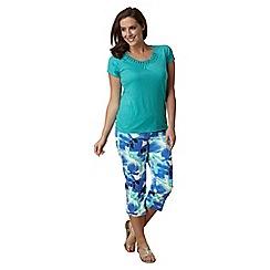 Lavitta - Blue iris floral cotton sateen crop trousers