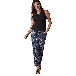 Lavitta - Blue floral contrast harem trousers
