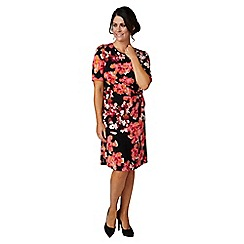 Lavitta - Dark orange trailing rose  side wrap dress