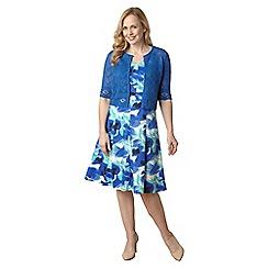 Lavitta - Blue iris floral cotton sateen shift dress