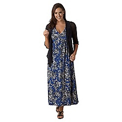 Lavitta - Blue mono floral contrast ground maxi dress