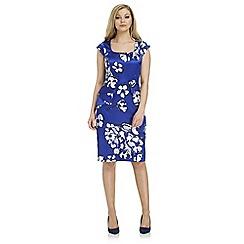 Roman Originals - Blue peplum floral shift dress