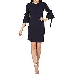 Blue Vanilla - Navy v back tie flare sleeve split dress