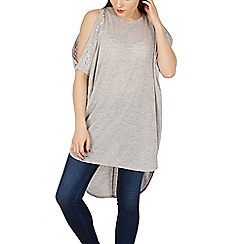 Alice & You - Grey zip & diamante cold shoulder batwing top