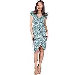 Lindy Bop - Turquoise becca fan wrap dress