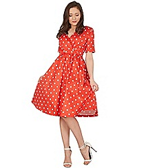 Lindy Bop - Red dahlia polka swing dress