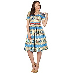 Lindy Bop - Blue francine rose stripe swing dress