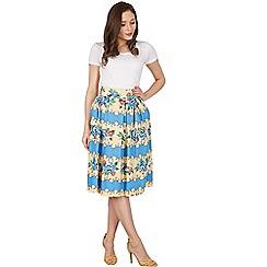 Lindy Bop - Blue vera rose stripe swing skirt