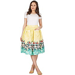 Lindy Bop - Yellow contessa venice border swing skirt