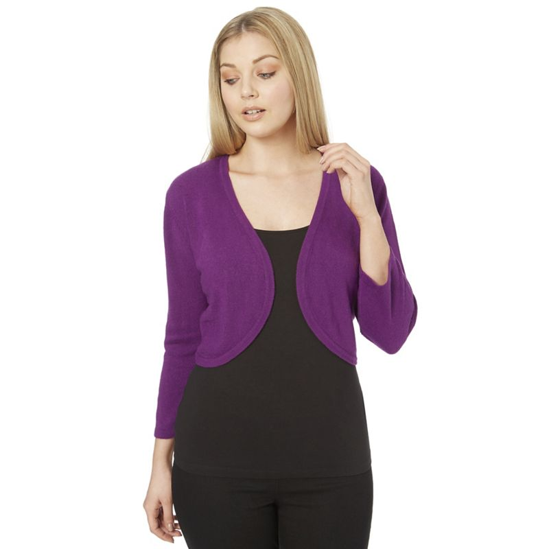 Roman Originals Purple plain 3/4 sleeves bolero