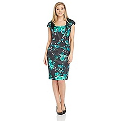Roman Originals - Green floral satin dress