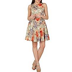 Apricot - Khaki floral belted skater dress