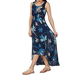 Apricot - Blue floral print maxi dress