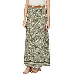 Apricot - Khaki paisley print maxi skirt