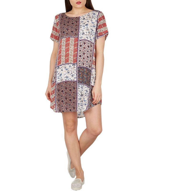 Apricot Cream patchwork print shift dress