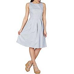Apricot - Light blue polkadot print midi dress