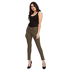 Jane Norman - Khaki popper cuff skinny jeans