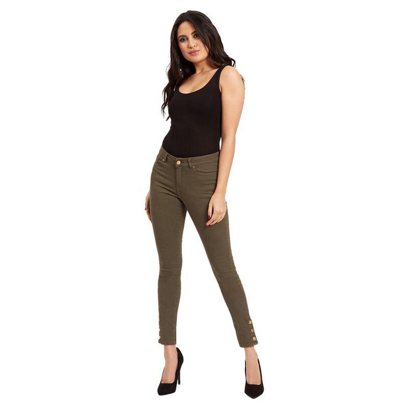 Jane Norman Khaki (Green) Popper Cuff Skinny Jeans, Womens,
