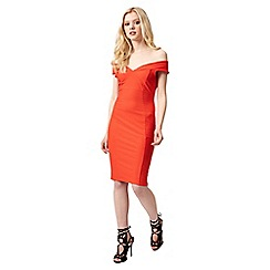 Jane Norman - Orange texture bardot dress