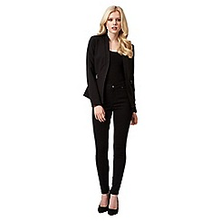 Jane Norman - Black polyurethane trim zip jacket