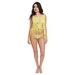 Jane Norman - Yellow crochet top with fringe