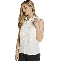 Roman Originals - Ivory lace layer shirt