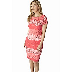 Roman Originals - Peach tonal lace dress