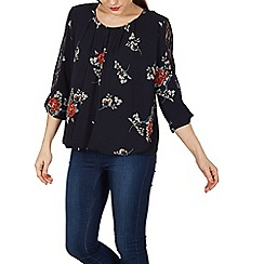 Izabel London - Navy printed lace sleeve blouse