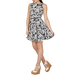Izabel London - Navy abstract print skater dress