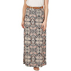 Izabel London - Peach tile print belted maxi skirt