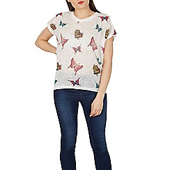 Izabel London - White butterfly print t-shirt